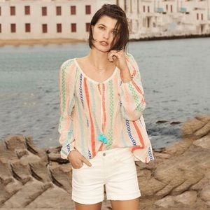 Anthropologie Manna Embroidered Peasant Top